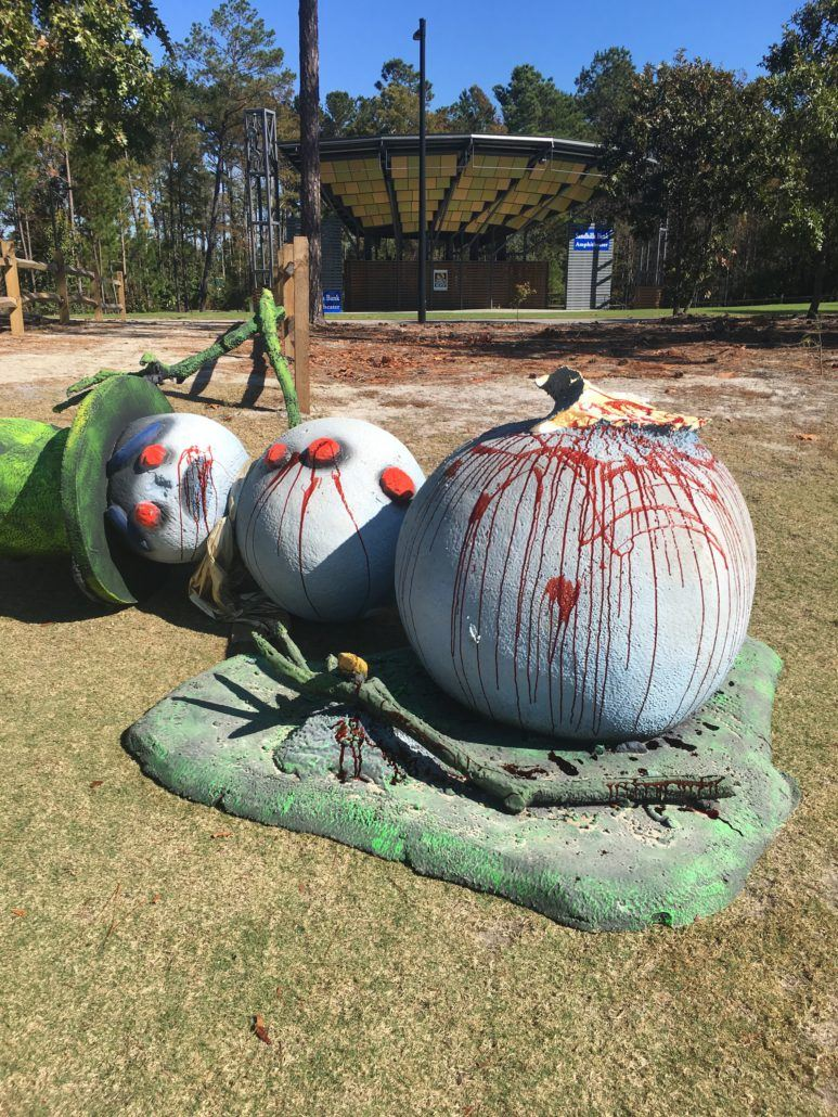 Bloody Snowman made of painted pumpkins